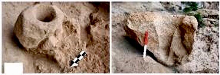 Dos de los morteros de piedra de la Cueva de Raqefet, donde se dio el origen de la cerveza.
