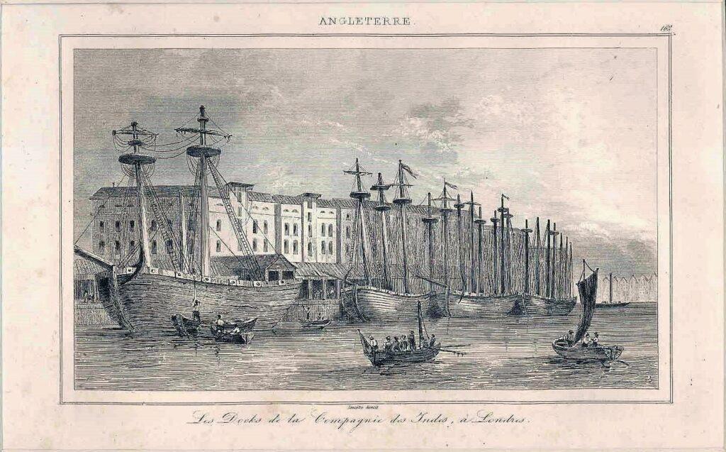 Embarcación de la Compañía Británica de las Indias Orientales, atracada en Londres, que transportaba mercancías a la India.