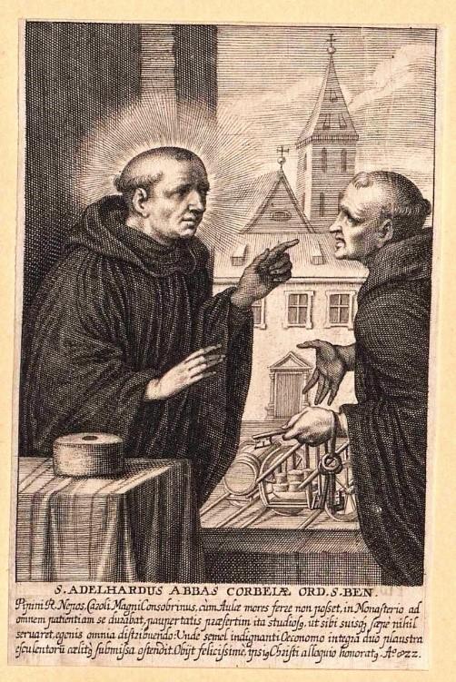 El Abad Adelardo de Corbie (izquierda), quien reflejó por escrito por primera vez el uso del lúpulo en la elaboración de cerveza.