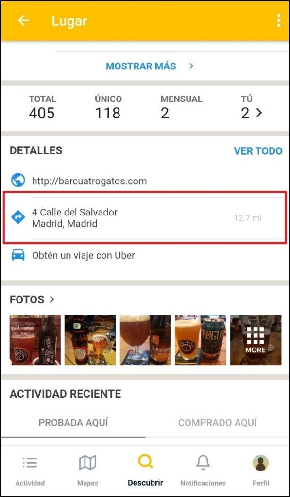 Localizar la dirección de un local especializado en cerveza con Untappd